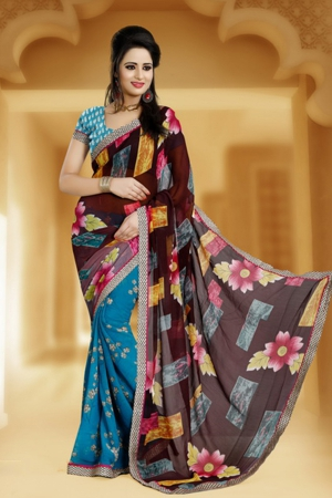 A G Lifestyle Brown And Blue Faux Georgette Saree With Unstitched Blouse JAS101B