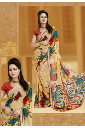 A G Lifestyle Beige Faux Georgette Saree With Unstitched Blouse JAS102B