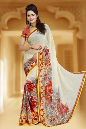 A G Lifestyle Beige Faux Georgette Saree With Unstitched Blouse JAS105B