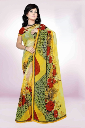 A G Lifestyle Yellow And Green Faux Georgette Saree with Unstitched Blouse PKH1003A