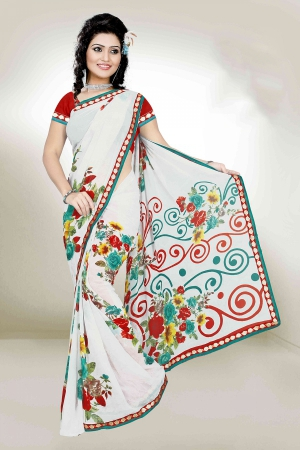 A G Lifestyle White Faux Georgette Saree with Unstitched Blouse PKH1004A
