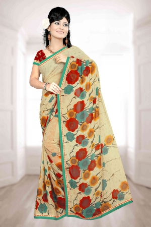 A G Lifestyle Beige Faux Georgette Saree with Unstitched Blouse PKH1007A