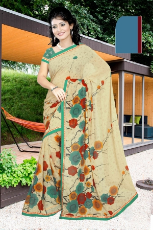 A G Lifestyle Beige Faux Georgette Saree with Unstitched Blouse PKH1007B