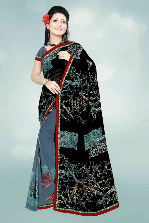 A G Lifestyle Black And Gray Faux Georgette Saree with Unstitched Blouse PKH1011A