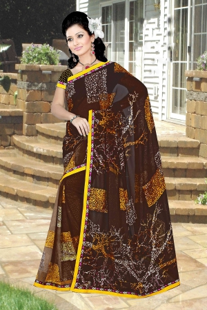 A G Lifestyle Brown Faux Georgette Saree with Unstitched Blouse PKH1011B