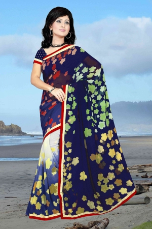 A G Lifestyle Navy Blue Faux Georgette Saree with Unstitched Blouse PKH1012A