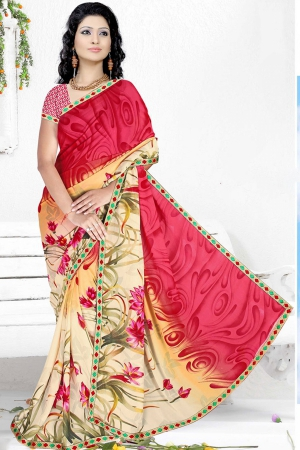 A G Lifestyle Peach And Beige Faux Georgette Saree with Unstitched Blouse RRS1009