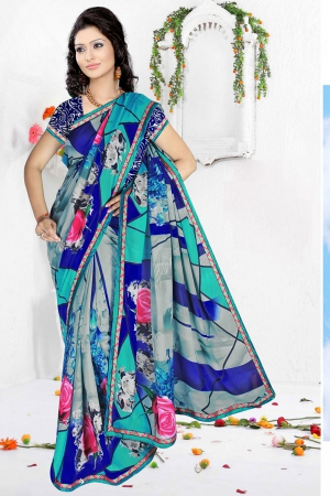 A G Lifestyle Blue And Gray Faux Georgette Saree with Unstitched Blouse RRS1010