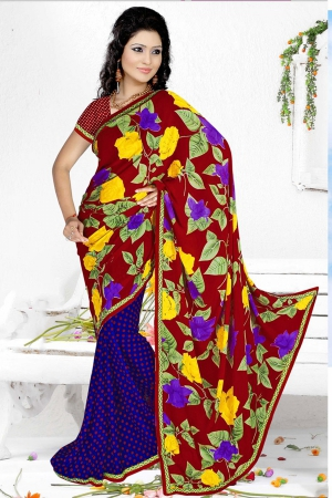 A G Lifestyle Maroon And Blue Faux Georgette Saree with Unstitched Blouse RRS1012