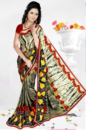 A G Lifestyle Multi Faux Georgette Saree with Unstitched Blouse RRS1018