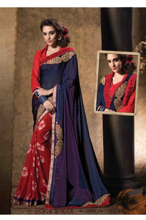 A G Lifestyle Blue And Red Chiffon And Faux Georgette Saree with Unstitched Blouse STU34004