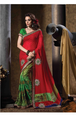 A G Lifestyle Red And Green Faux Georgette Saree with Unstitched Blouse STU34008