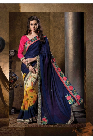 A G Lifestyle Navy Blue And yellow Faux Georgette And Chiffon Jacquard Saree with Unstitched Blouse STU34010