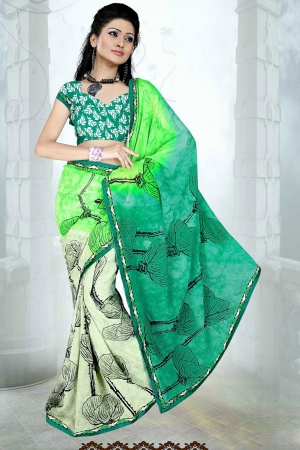 A G Lifestyle Green Faux Georgette Saree with Unstitched Blouse SUH1004