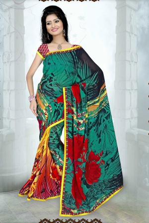 A G Lifestyle Sea Green Faux Georgette Saree with Unstitched Blouse SUH1007