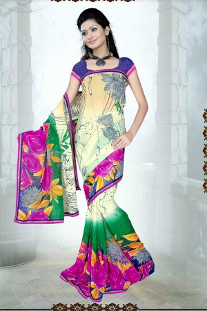 A G Lifestyle Multi Faux Georgette Saree with Unstitched Blouse SUH1010