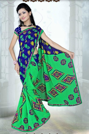 A G Lifestyle Green And Blue Faux Georgette Saree with Unstitched Blouse SUH1011