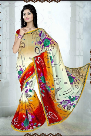 A G Lifestyle Beige And Red Faux Georgette Saree with Unstitched Blouse SUH1020