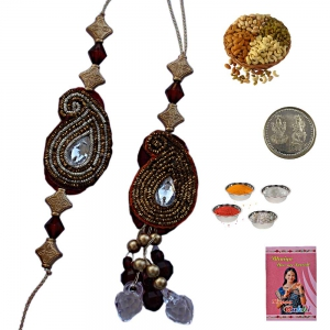 Buy traditional Bhai Bhabhi Indian Rakhi Gift Set 201