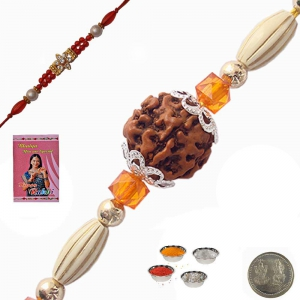 Send Online Charming Handcrafted Beads Rakhi 145