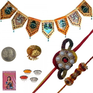 Colorful Beads Rakhi and Door Garlad for Brother 155