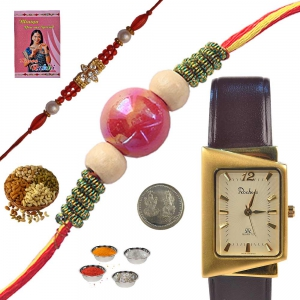 Unique Branded Gents Watch and Mauli Rakhi Gift 161