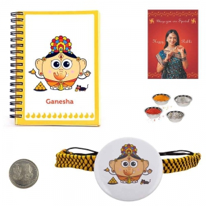 Send Ganesha Rakhi with Ganesha Notepad to Brother 111