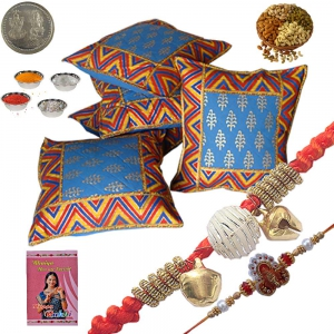 5 Pc Cotton Cushion Cover n Exclusive Rakhi Gift 302A