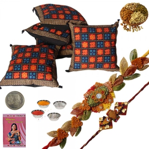 Hand Block Cushion Cover n Designer Rakhi Gift 305A