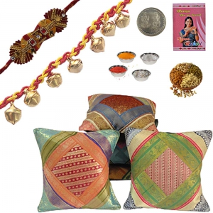Brocade Cushion Cover Set Beautiful Rakhi Gift 411A