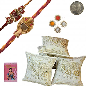 Send Zari Cushion Cover Set Adorable Rakhi Gift 417A