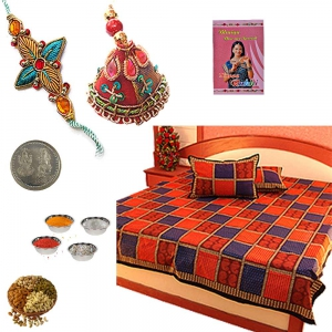 Cotton Double Bed Sheet n Bhaiya Bhabhi Rakhi 302A