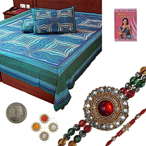 Cotton Double Bed Sheet n Exclusive Rakhi Gift 329A