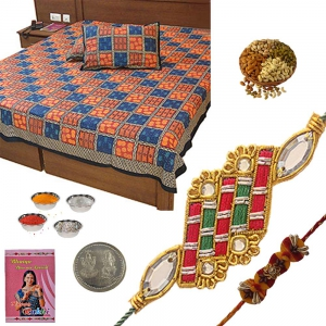 Send Jaipuri Cotton Double Bed Sheet Rakhi Gift 335A