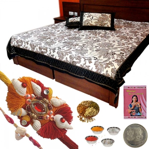 Gold Print Double Bed Sheet and Ethnic Rakhi 348A