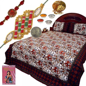 Jaipuri Double Bed Sheet n Rakhi 400Gm Dryfruit Box