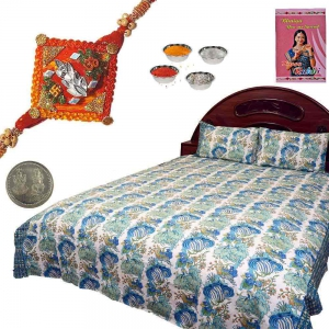 Jaipuri Cotton Double Bed Sheet and Ethnic Rakhi Gift