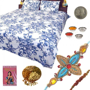 Colorful Double Bedsheet and Exclusive Rakhi Gift