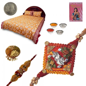 Rajasthani Double Bed Sheet n Rakhi 200Gm Dryfruit Box