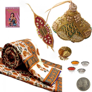 Jaipuri Dohar Exclusive Cute Rakhi Gift Hamper 301A