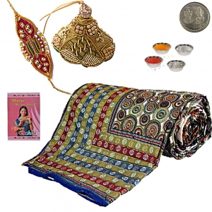 Send Jaipuri Dohar Exquisite Rakhi Gift Hamper 308A