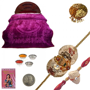 Send Double Bed Blanket and Beautiful Rakhi Gift 198