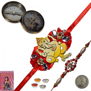 Send Antique Compass n Cute Rakhi Gift to Brother 200