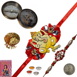 Send Antique Compass n Rakhi with 200Gm Dryfruits 200