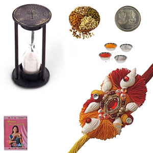Send Antique Sandtimer n Rakhi wid 200Gm Dryfruits 201