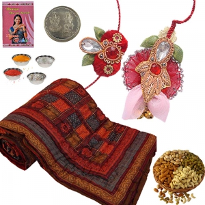 Send Jaipuri Double Bed Quilt Rakhi Gift Hamper 301A