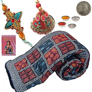 Ethnic Jaipuri Double Bed Quilt Rakhi Gift Hamper 316A