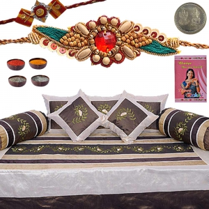 Exclusive Jaipuri Silk Dewan Set Rakhi Gift Hamper301A