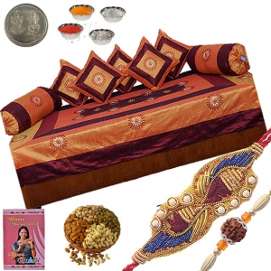 Send Jaipuri Silk Dewan Set Ethnic Rakhi Gift 304A
