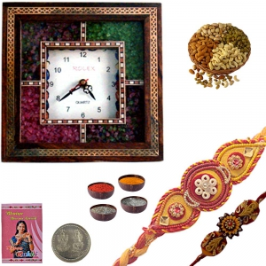 Gemstone Wooden Wall Clock and Designer Rakhi 128